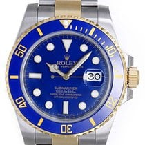 Rolex Submariner 2-Tone Steel & Gold Ceramic Engraved...