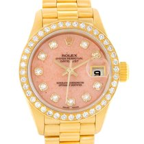 Rolex President Ladies 18k Yellow Gold Coral Diamond Dial...
