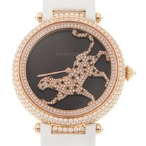 Cartier Bestiaire 18 K Rose Gold With Diamonds Black Automatic...