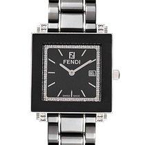 Fendi Quadro Ceramic Quartz Diamond Ladies Watch F621110DDC