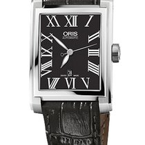 Oris Rectangular 30x44 Date, Roman, Black Dial, Leather