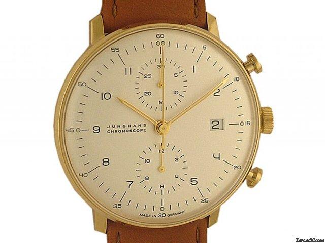 junghans max bill chronoscope chronograph gelbgold automatik 40mm f r kaufen von einem. Black Bedroom Furniture Sets. Home Design Ideas