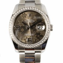 Rolex Datejust 36MM Brown Floral Dial Diamond Bezel Watch...