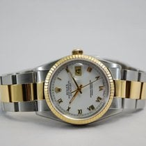 Rolex DateJust Two Tone 18kt Yellow Gold/SS White Roman...