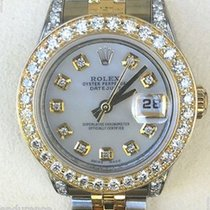 Rolex Ladies Datejust Two Tone Gold Steel Mother Pearl Diamond...