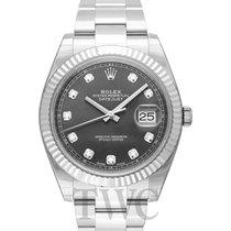 롤렉스 (Rolex) Datejust 41Dark Rhodium Steel/18k White Gold Dia...