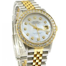 Rolex Datejust White MOP Diamond Dial Bezel Custom Steel &...