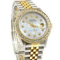Rolex Datejust White MOP Diamond Dial Bezel Custom Steel &...