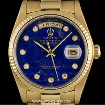 Rolex 18k YG Rare Lapis Lazuli Pyramid Diamond Dial Day-Date...
