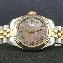 Rolex Datejust 179173 Lady 26mm 18k Yellow Gold Steel Black...