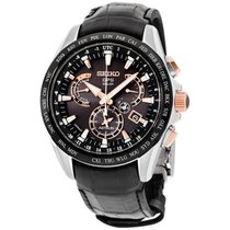 Seiko Astron Solar GPS Dual-Time Men's Black Leather Strap...