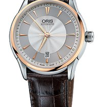 Oris Artelier Date Gold/Steel Brown Leather Bracelet