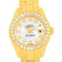 Rolex Pearlmaster 18k Yellow Gold Mop Diamond Dial Bezel Watch...