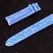 Breitling Tradema Croco Armband Band Strap 20/18mm Blau Blue