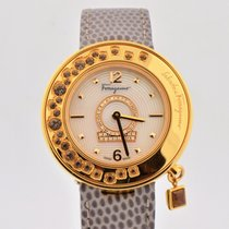 Salvatore Ferragamo Gancino Minuetto Mop Dial Gold Tone Watch