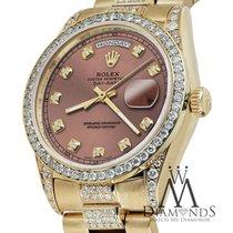 Rolex Presidential Day Date 36mm Salmon Dial Diamond Watch...