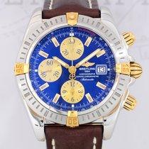 Breitling Chronomat Evolution Stahl Gold blue dial Lederband...