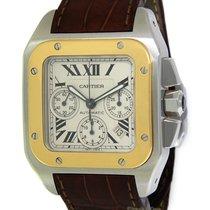 Cartier Santos 100 XL Chronograph 18k Yellow Gold/Steel Watch...