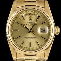 Rolex 18k Yellow Gold O/P Champagne Baton Day-Date 18038