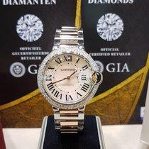 Cartier Ballon Bleu 36mm rose gold/steel aftermarket diamond...
