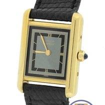 Cartier Vermeil Tank Quartz Silver Gold Plated 22mm Leather Watch