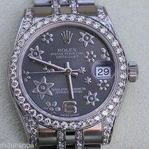 Rolex Datejust Midsize Ladies Rhodium Floral Dial Diamond...