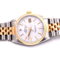 Rolex Mens 18K/SS Datejust White Stick Marker Dial, Jubilee...