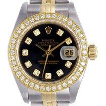 Rolex Ladies Rolex Datejust Watch 69173 Factory Black Diamond...