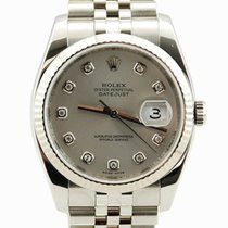 Rolex DateJust Stainless Steel Silver Diamond Dial - 116234