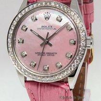 Rolex Oyster Perpetual Stainless Steel Pink MOP Diamond Ladies...