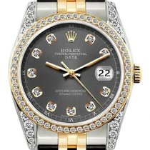Rolex Date Unisex 34mm Gray Dial Stainless Steel And Gold...