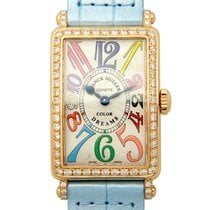 Franck Muller Long Island 18k Pink Gold Diamond Silver Quartz...