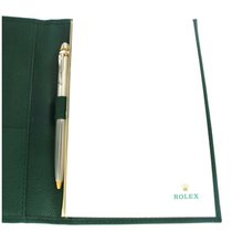 Rolex Green Leather Notepad With 22kt Platinum And Yellow Gold...