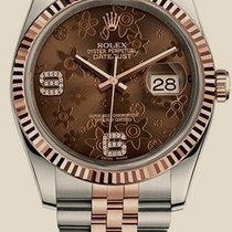 Rolex Datejust 36mm Steel and Everose Gold Brown Floral...