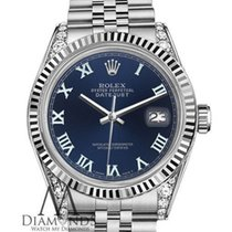 Rolex 36mm Datejust Stainless Steel Navy Blue Roman Numeral...
