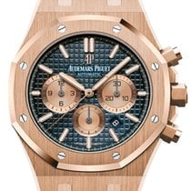 Audemars Piguet Royal Oak Rose Gold Blue Dial Blue Leather...