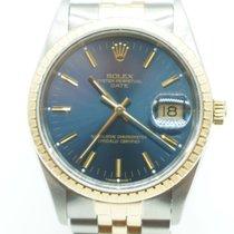 Rolex Oyster Perpetual Date Two Tone Gold Stick Blue (B &...