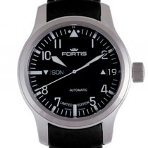 Fortis F43-Flieger Big Day Date Limitiert Black Stahl Automati...