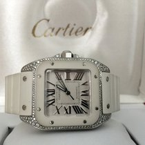 Cartier Santos 100 Midsize Steel Diamonds White Roman Dial...