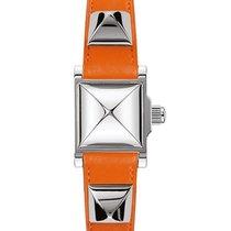 Hermès Medor Silver Dial Ladies Orange Leather Watch