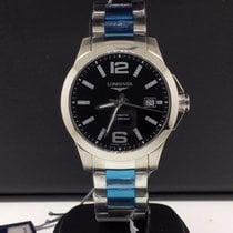 Longines Conquest Stainless Steel 39mm Black Dial Mens Watch ...