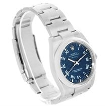Rolex Air King Blue Roman Dial Steel Mens Watch 114200 Box Papers