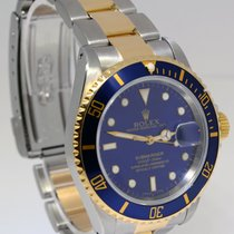 Rolex Submariner 18k Gold & Steel Mens 40mm Automatic Dive...