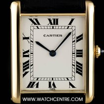 Cartier 18k Yellow Gold Silver Roman Dial Tank Jumbo Gents Watch