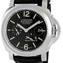 Panerai Luminor Power Reserve Black Dial Leather Band Swiss...
