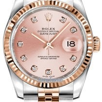 Rolex Datejust 36mm Stainless Steel and Rose Gold 116231 Pink...