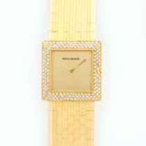 Boucheron France Yellow Gold Pave Diamond Square Bracelet Watch