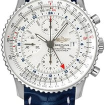 Breitling Navitimer World 46 Blue Leather Strap Men Watch...