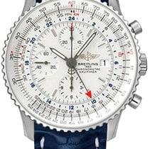 Breitling Navitimer World 46 Blue Leather Strap Men Watch...