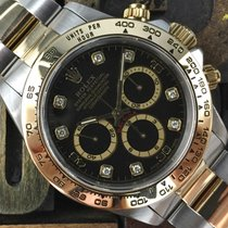 Rolex Daytona Steel & Gold Black Diamonds Dial